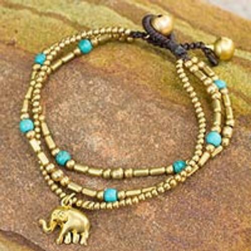 Brass Bracelet Turquoise-color Gems Beaded Jewelry 'Thai Elephant Charm'