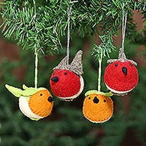 Christmas Bird Ornaments (Set of 4) 'Robin's Delight'