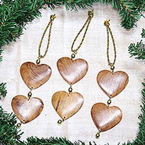 Fair Trade Hand-carved Wood Ornaments (set of 3) 'Cheerful Hearts'