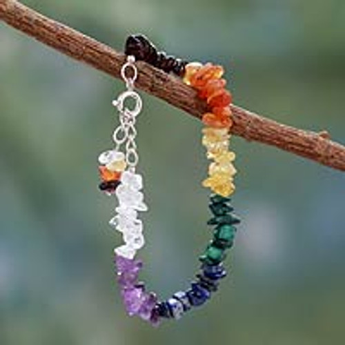 Handmade Beaded Gemstone Chakra Bracelet from India 'Peaceful Mantra'