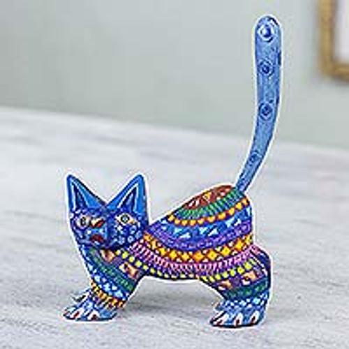 Mexican Alebrije Cat Sculpture 'Playful Blue Kitten'