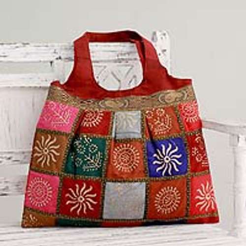 Red Tote Handbag with Golden Block Prints 'Crimson in Kutch'