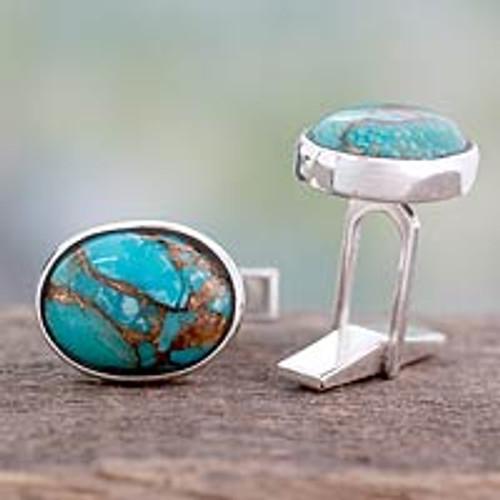 Men's Jewelry Sterling Silver Cufflinks 'Elegant Enigma'