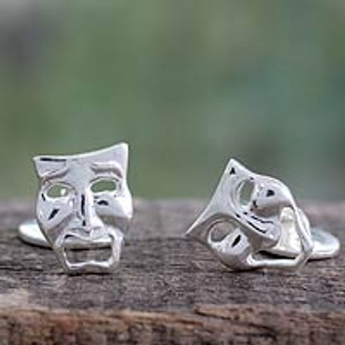 High Polished Sterling Silver Cufflinks 'Comedy and Drama Masks'
