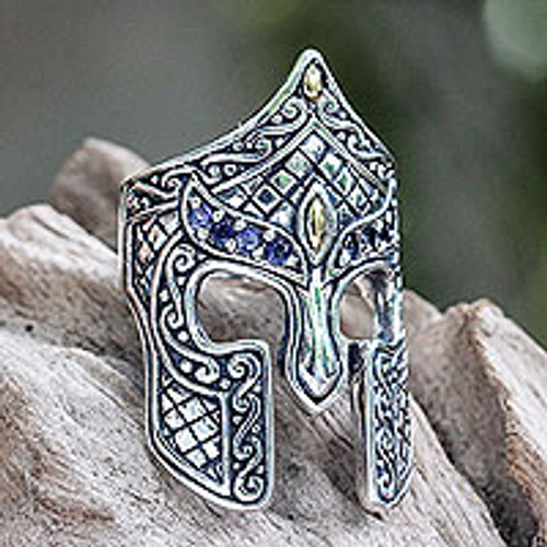 Gold Accent Etruscan Warrior Ring with Iolite 'Warrior'