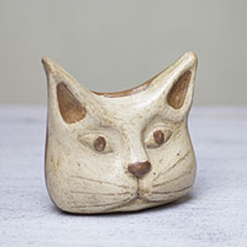 Animal Theme Burnished Clay Incense Holder from Mexico 'Owl Cat'