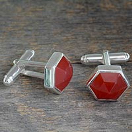 Modern Sterling Silver and Carnelian Cufflinks 'Be a Star'