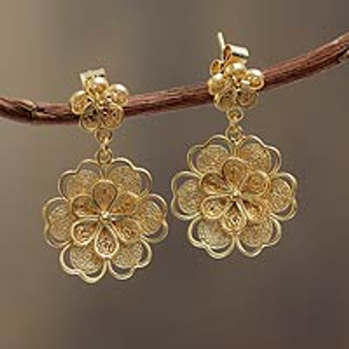 Gold Plated Filigree Handmade Flower Dangle Earrings 'Yellow Rose'