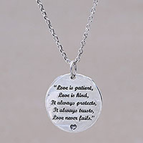 Inspirational Love Message Silver Pendant Necklace from Bali 'Love Wise'