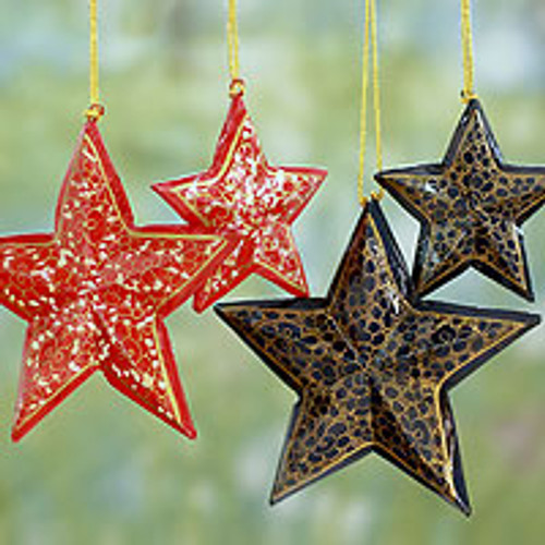 Artisan Crafted Wooden Star Christmas Ornaments (Set of 4) 'Midnight Carols'