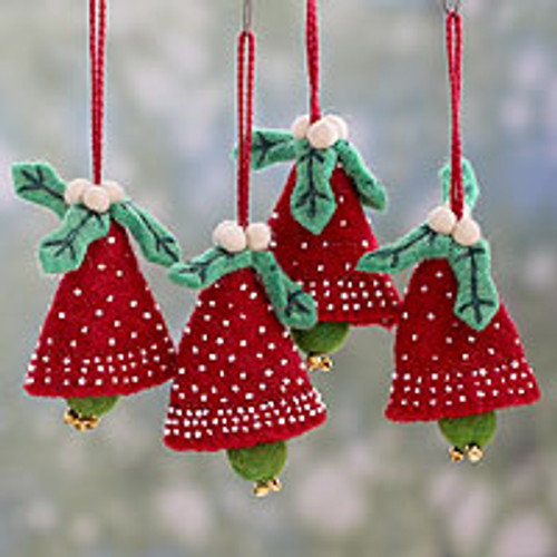 Handmade Red and Green Wool Christmas Ornaments (Set of 4) 'Red Jingle Bells'