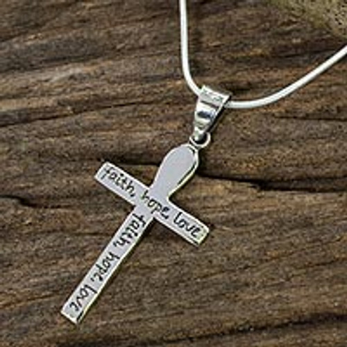 Handmade Women's Silver Cross Pendant Necklace 'Faith, Hope, Love'