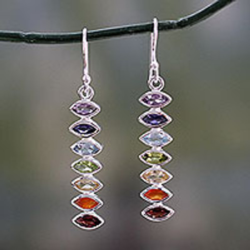Seven-Gemstone Dangle Earrings in 925 Sterling Silver 'Chakra Balance'