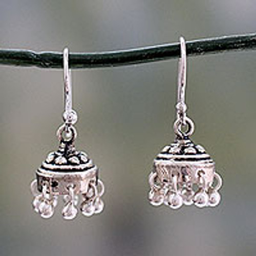 Traditional Style Indian Earrings Crafted in Sterling Silver 'Traditional Grace'
