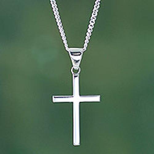 Sleek Minimalist Sterling Silver Cross Necklace 'Eternal God'