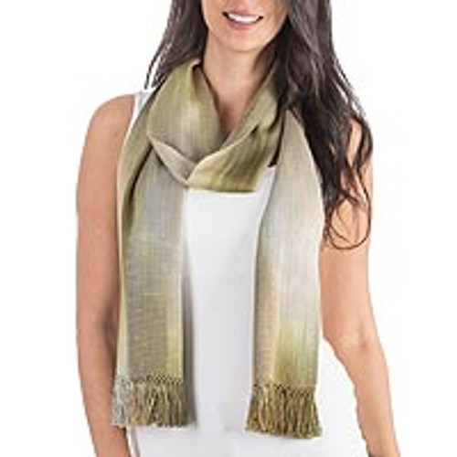 Grey Olive Green Hand Made Rayon Chenille Scarf 'Iridescent Olive'