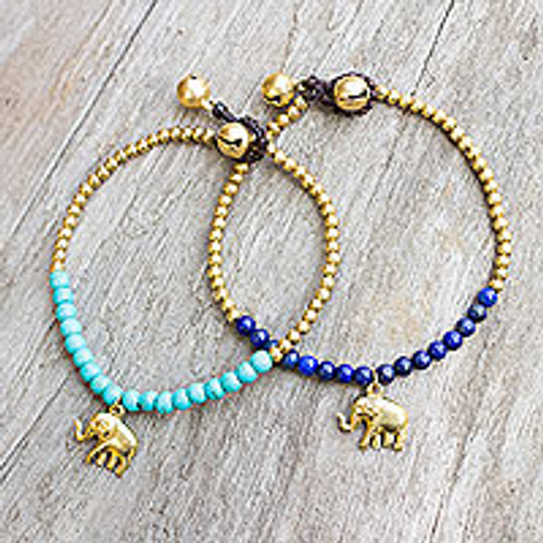 Brass Beaded Bracelets with Lapis Lazuli and Calcite (Pair) 'Stylish Elephants'