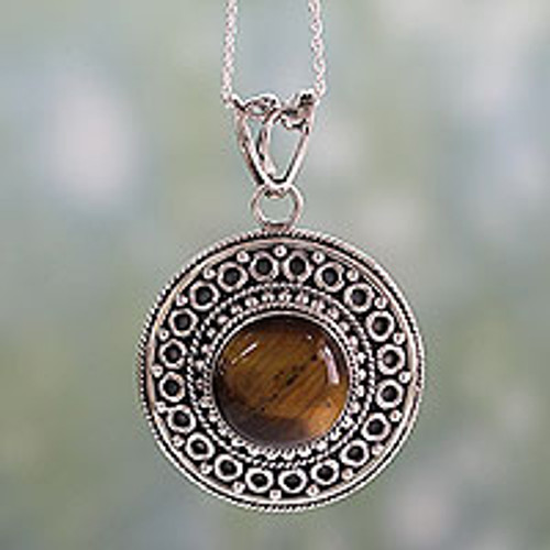 Sterling Silver Necklace with Tiger's Eye Pendant 'Power'
