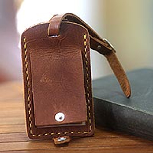 Brown Leather Luggage Tag Handmade in Bali 'Sumatra Secrets'