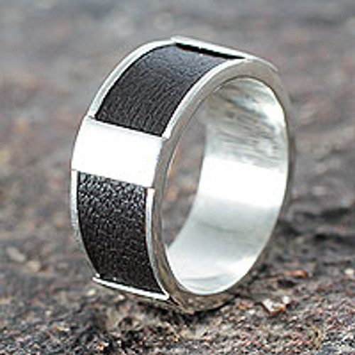 Artisan Crafted Leather Accent Sterling Silver Band Ring 'Leather Minimalist'