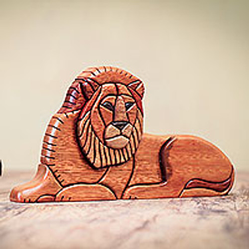 Artisan Carved Jungle Cat Sculpture in Wood 'Lion at Rest'