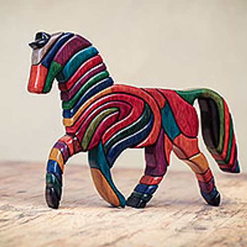 Colorful Artisan Crafted Peruvian Horse Sculpture 'Rainbow Horse'