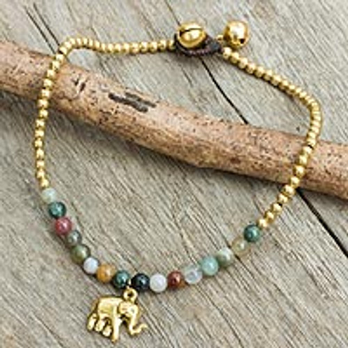 Elephant Charm Agate and Beaded Brass Anklet 'Stylish Elephant'