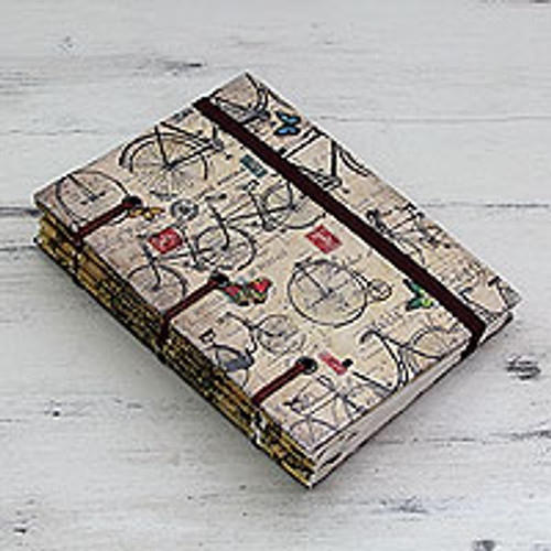 Artisan Crafted Journal with 60 Pages Blank Handmade Paper 'Vintage Bike Journeys'