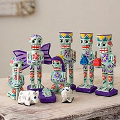 Artisan Crafted 9-Piece Day of the Dead Theme Nativity Scene 'Calaveras'