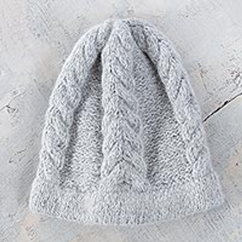 Soft Grey Hand Knitted Cable Stitch Alpaca Hat 'Mist'
