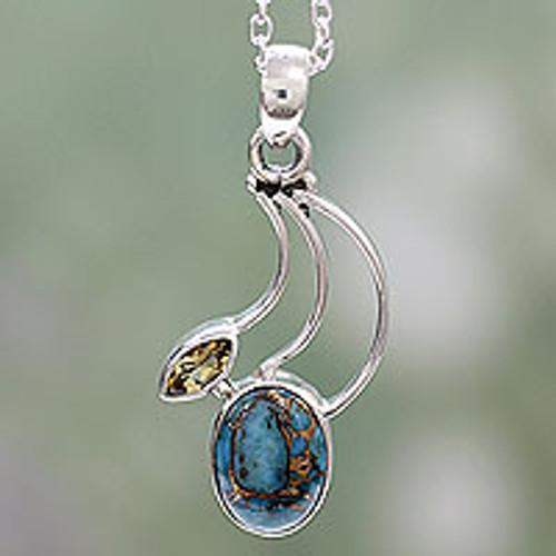 Citrine Silver Necklace with Composite Turquoise 'Modern Mystique'