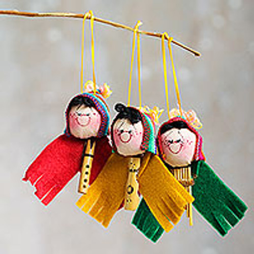 Cute Andean Musicians Hand Crafted Ornaments (Set of 3) 'Musical Ties'