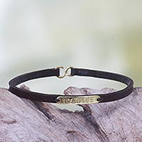 Leather Brass Bracelet with Engraved Inspirational Message 'Imagine'