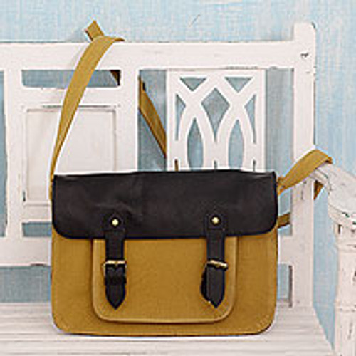 India Messenger Bag in Yellow Canvas with Black Leather Trim 'Casual in Mustard'