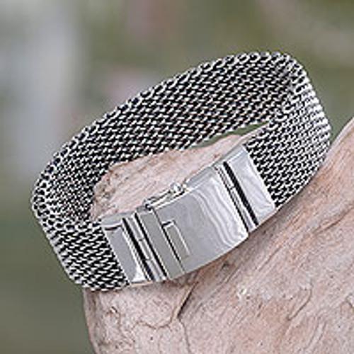 Men's Chain Mail Wristband Bracelet in Sterling Silver 'Armor Warrior'