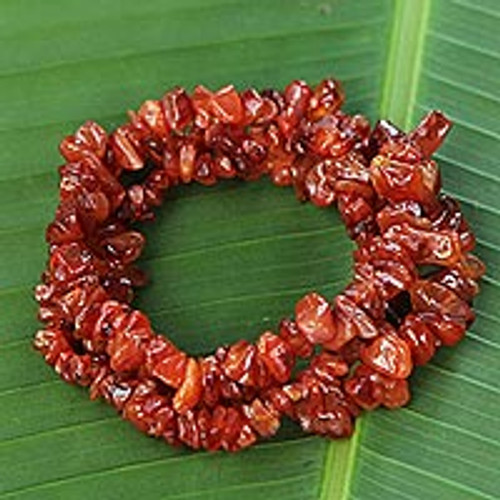 3 Handcrafted Red-Orange Agate Beaded Bracelets from Brazil 'Caramel Incantation'