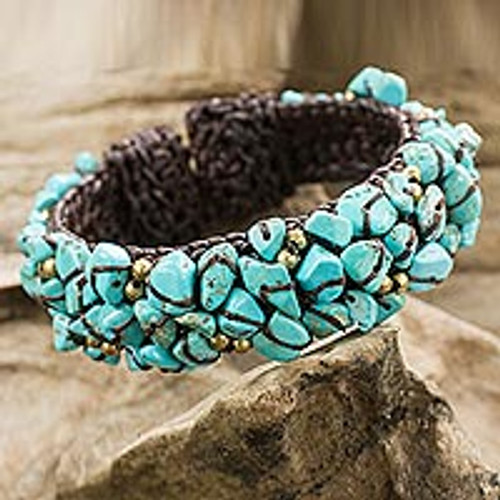 Turquoise Color Bead Bracelet on Brown Crocheted Cords 'Sky Blue Day'