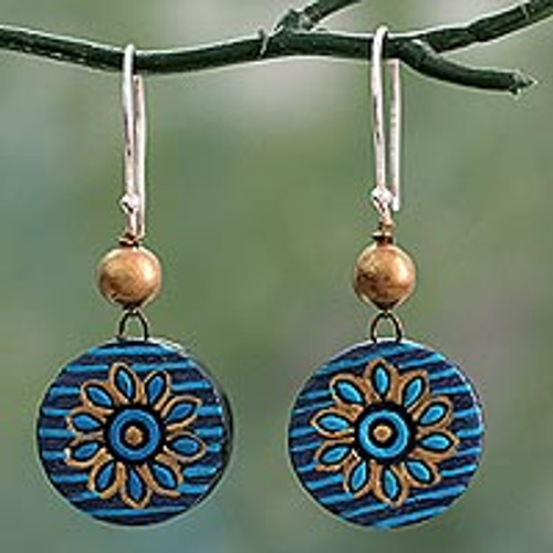 Hand Crafted Ceramic Dangle Earrings in Blue and Gold 'Mughal Morning'