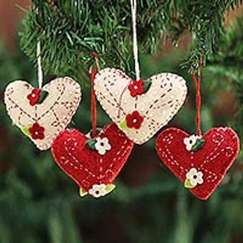 Handcrafted Felt Heart Ornaments in Red and Ivory (Set of 4) 'Joyful Hearts'