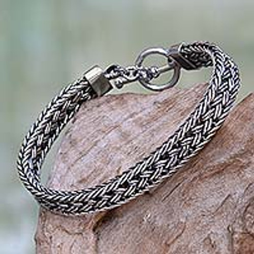 Toggle Clasp Balinese Sterling Silver Men's Bracelet 'Pakerisan'