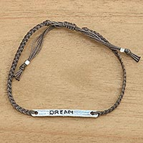 Brown Cord Wristband Bracelet with Sterling Silver Dream Bar 'Dream in Brown'