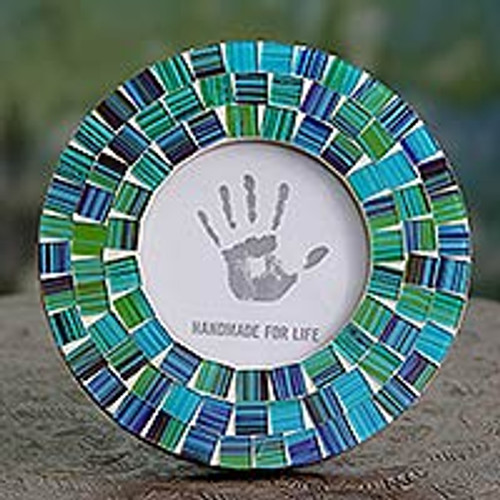 Green and Blue Handcrafted Circular Glass Mosaic Photo Frame 'Aqua Mist'
