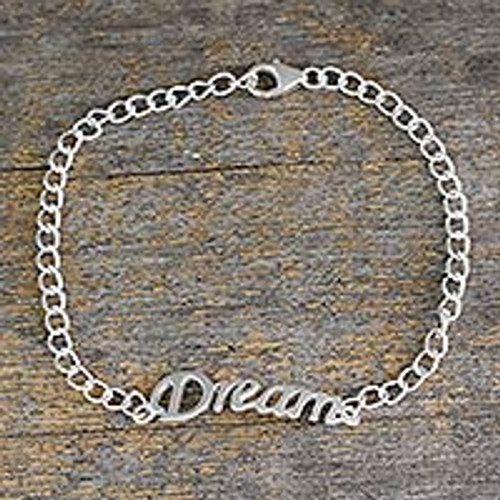Inspirational Sterling Silver Bracelet with Dream Message 'Remember to Dream'