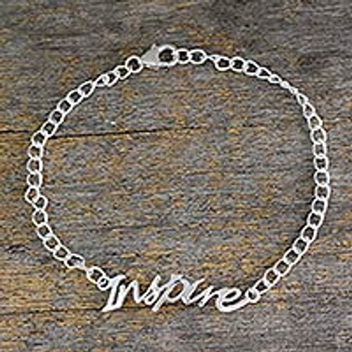 Sterling Silver 925 Bracelet with Inspire Pendant 'Remember to Inspire'