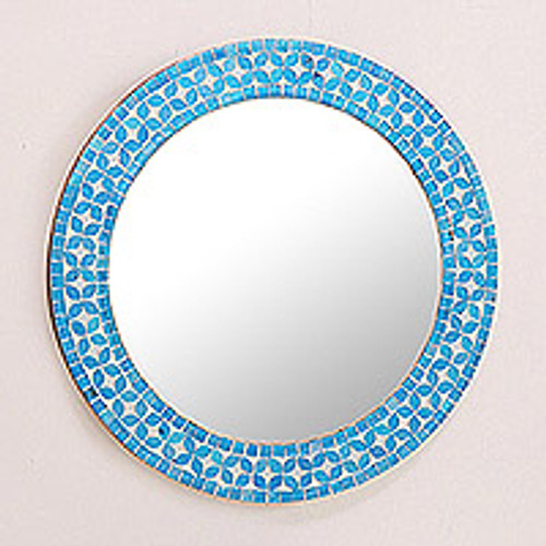 Round Turquoise Glass Mosaic Tile Mirror with Flower Motif 'Turquoise Blossom'