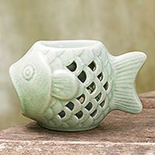 Handcrafted Ceramic Clay Oil Warmer Green Fish from Thailand 'Hello Fish'