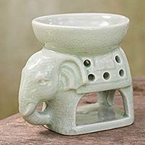 Thailand Ceramic Clay Green Elephant Oil Warmer Hand Crafted 'Sunshine Elephant'