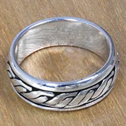Textured Silver Handcrafted Men's Band Ring from Bali 'Lightning Track'