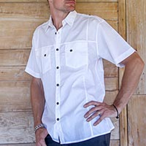 Men's Military Style White Short Sleeve Shirt 2 Pockets 'Military White'
