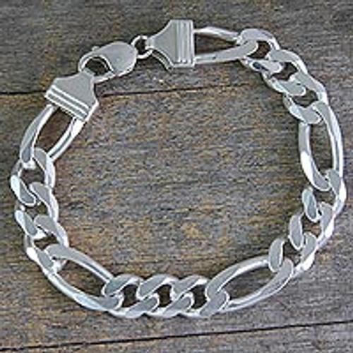 Artisan Crafted Men's Sterling Silver Link Bracelet 'Bold Man'
